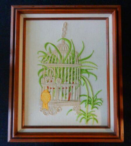 Vtg framed crewel embroidery needlework art- yellow bird and birdcage