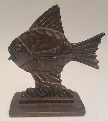 Cast Iron Metal FISH Figure Bronze Decorative Doorstop Paperweight Vintage