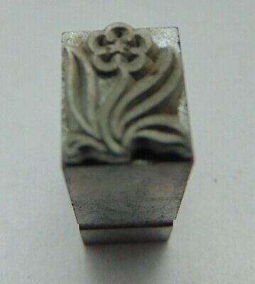 Vintage Printing Letterpress Printers Block All Metal Flower 516 X 38