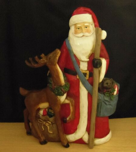 SANTA CLAUS WITH DEER, TOY SACK, BLUE BAG AND STAFF FIGURINE