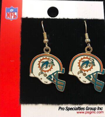 Miami Dolphins Helmet Logo J Hook Dangle  Earrings NEW