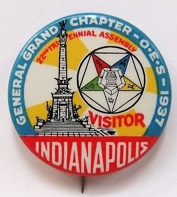 "1937 EASTERN STAR O.E.S. Indianapolis Indiana COLORFUL 1.5"" pinback button"