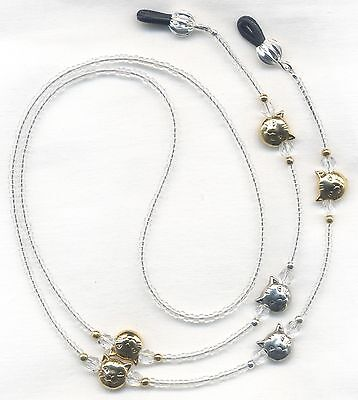 Gold & Silver CATS & Crystals Eyeglass-Glasses Holder Leash Necklace Chain