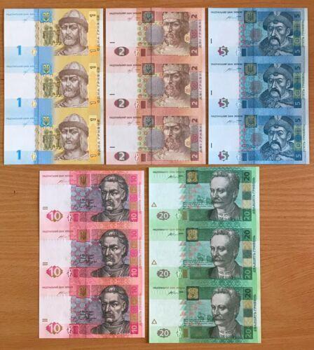 Ukraine, Complete SET of UNCUT BANKNOTES, 1 - 20 Hryven 2015 - 2018, UNС