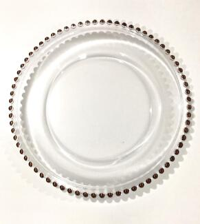 Rose gold beaded glass charger plates