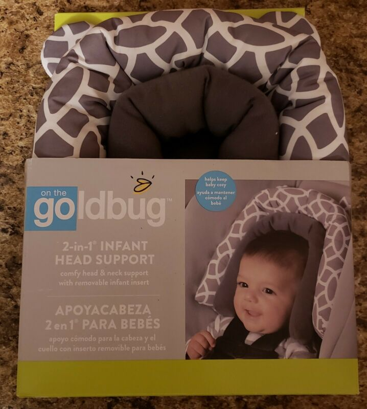 Goldbug 2-in-1 Infant Car Seat Head Support, Geo-Gray & White