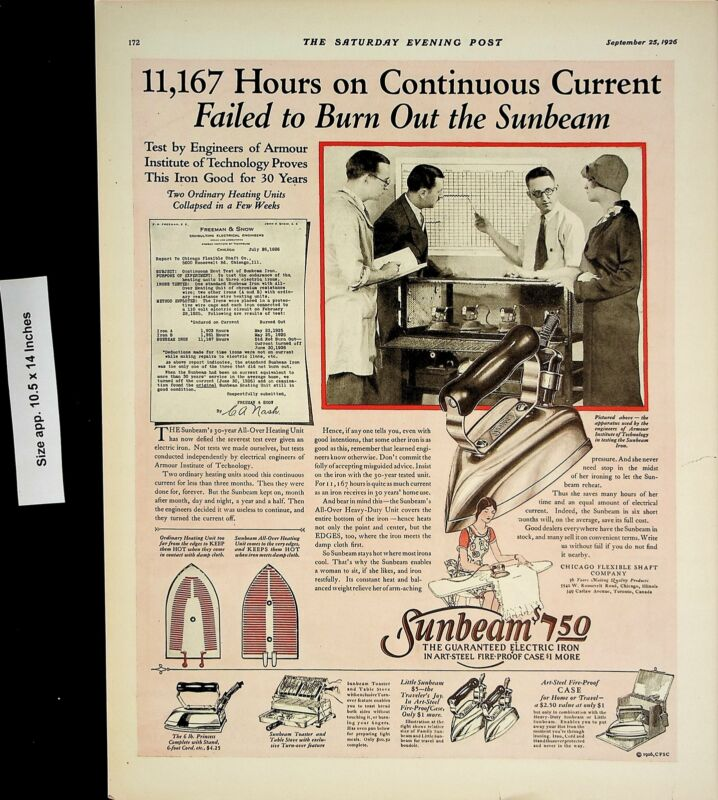 1926 Sunbeam Clothes Iron Vintage Print Ad 4451