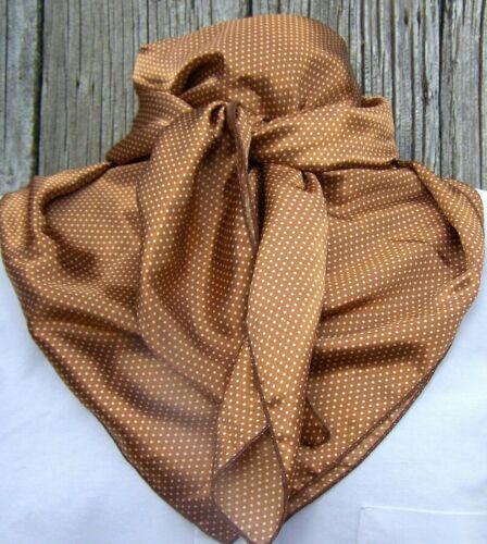 Wild Rag Scarf Cowboy Western Buckaroo Scarves Bandana polka dots silky brown 42