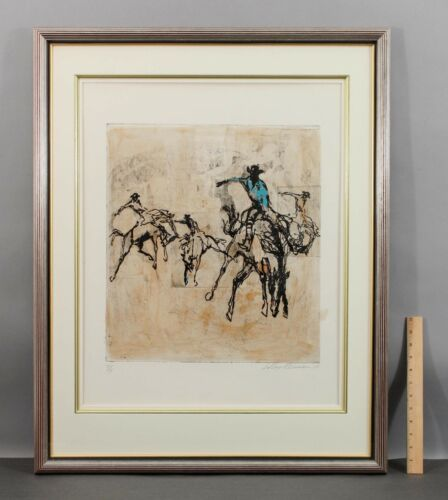 Signed Printers Proof LEROY NEIMAN Serigraph Etching Western RODEO