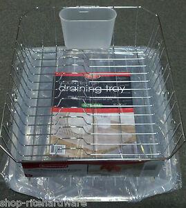 Chrome Rubbermaid Dish Drainer Rack Set Sloped Kennedys