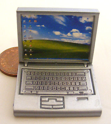 1:12 Scale Silver Dolls House Miniature Modern Laptop Computer Office Accessory