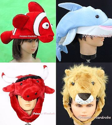XMAS Halloween Party Animal Crab Cow Snake Fish Sheep Rabbit Warm Hat Costume (Animal Costume Party)