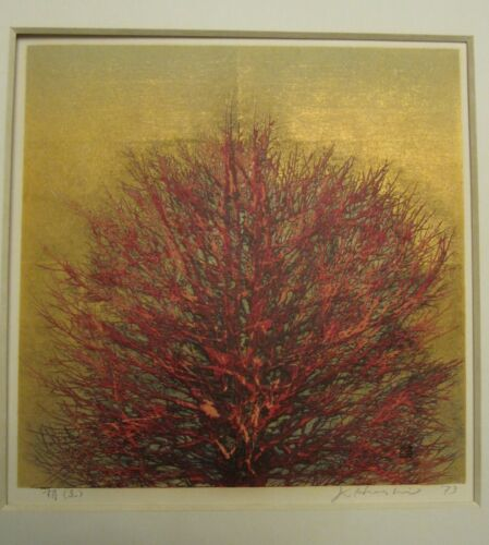 Joichi Hoshi Japanese Woodblock print  - Red Tree with Gold background