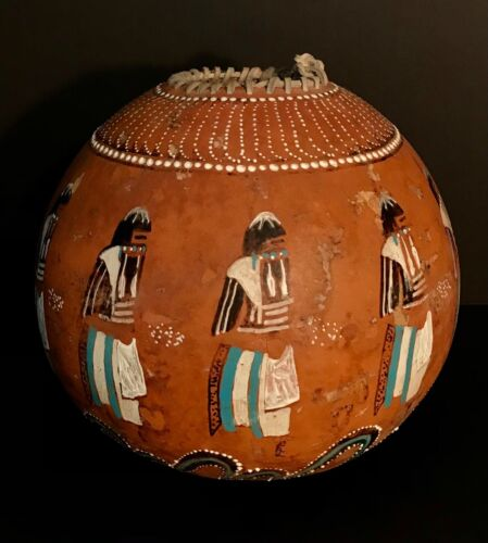 VINTAGE SOUTHWESTERN PUEBLO LONG-HAIRED KACHINA PAINTED GOURD,EXCELENT CONDITION