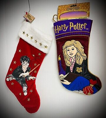 HARRY POTTER & HERMIONE GRANGER Christmas Holiday Stockings Quilted Felt Vintage