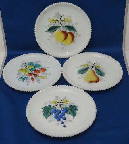 "Westmoreland Milk Glass Fruit Plates with Beaded Edge Set of 4 7.25"" Salad"