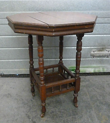 Antique Octagonal 2 Tier Parlour/Side Period Table on Pot Casters