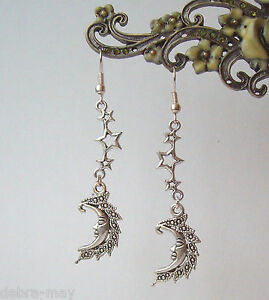 Moon Face Goddess and Stars Dangly Earrings