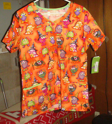 Halloween Scrubs Top, White Swan Googlymoogly L, Orange, - Halloween Scrubs