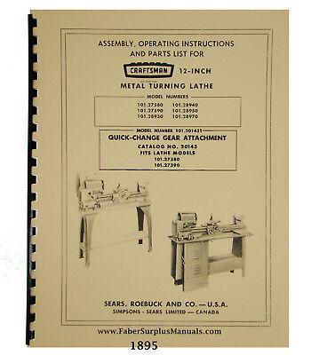 Sears Craftsman 12 Lathe 101.27580 90 101.28930 405070 Wqc Manual 1895