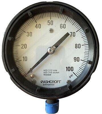 Ashcroft Duragauge 45-1279-ss-04l-100 Pressure Gauge 4-12 100 Psi New
