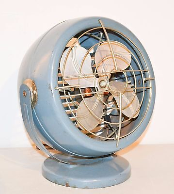 Mid Century Vintage Table Desk Fan - Rare Electrahot Retro Blue electric