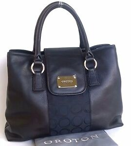 RRP$545 New OROTON Roche Handbag Bag O Signature Tote Leather Canvas Black