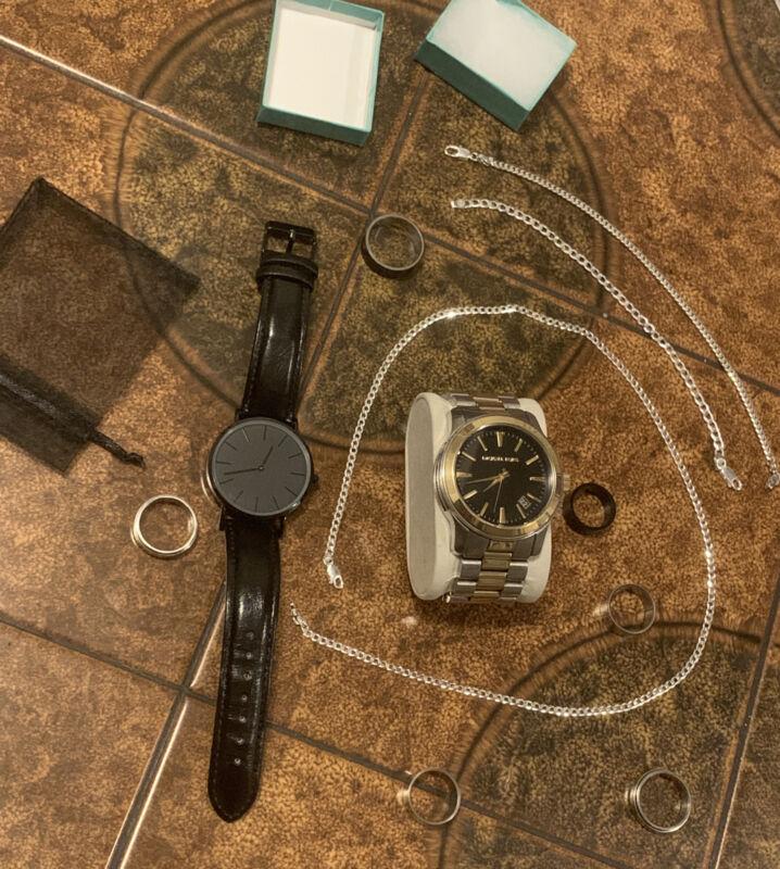Mens Jewelry Lot Michael Kors Watch Cuban Chain 2 Bracelets 25+ Rings Silver