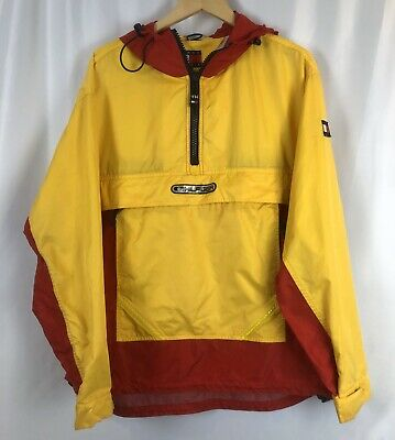 Vtg Tommy Hilfiger Pullover Windbreaker Jacket Hoodie Yellow Red Large
