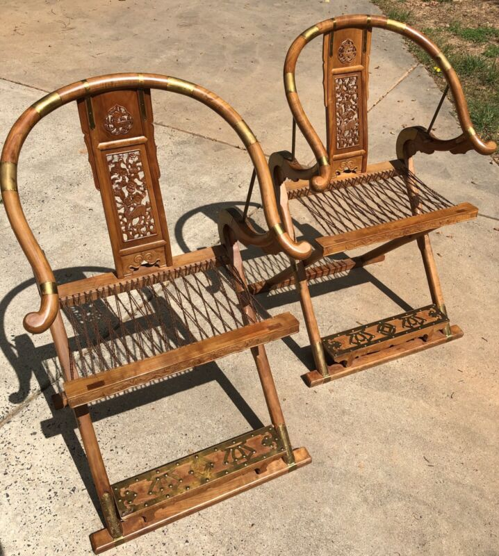 Antique Chinese Hardwood & Brass Folding Matching Chairs (One Pair)