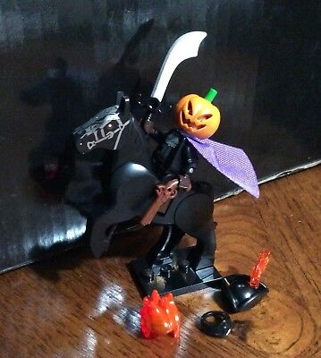 Custom Lego Headless Horseman Halloween Jack Pumpkin Minifigure & Horse Sets !!!