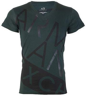 Armani Exchange BIAS Mens Designer T-SHIRT Premium GREEN BLACK Slim Fit $45 NWT