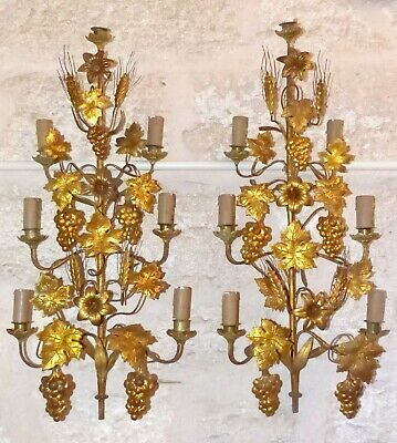 Vintage Antique Ornate Lot of 3 Chandelier Arm Part Salvage Country Shabby with Shade Fitter