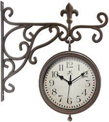 Beauregard 8 inch Double-Sided Clock Thermometer Indoor/Outdoor Clock Bracket