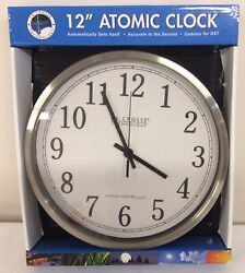 "12"" La Crosse Atomic Wall Clock WT-3126B Stainless Steel Frame NEW"