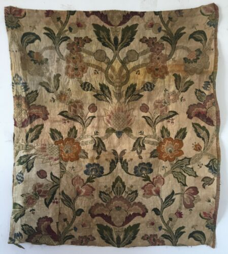 Rare Beautiful 19th C. French Woven Silk and Metallic Jacquard Fabric  (3043)