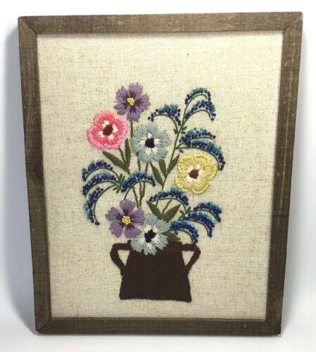 Vintage Crewel Embroidery~Stitchery~Finished~Completed~Framed~Flowers~Flower Pot