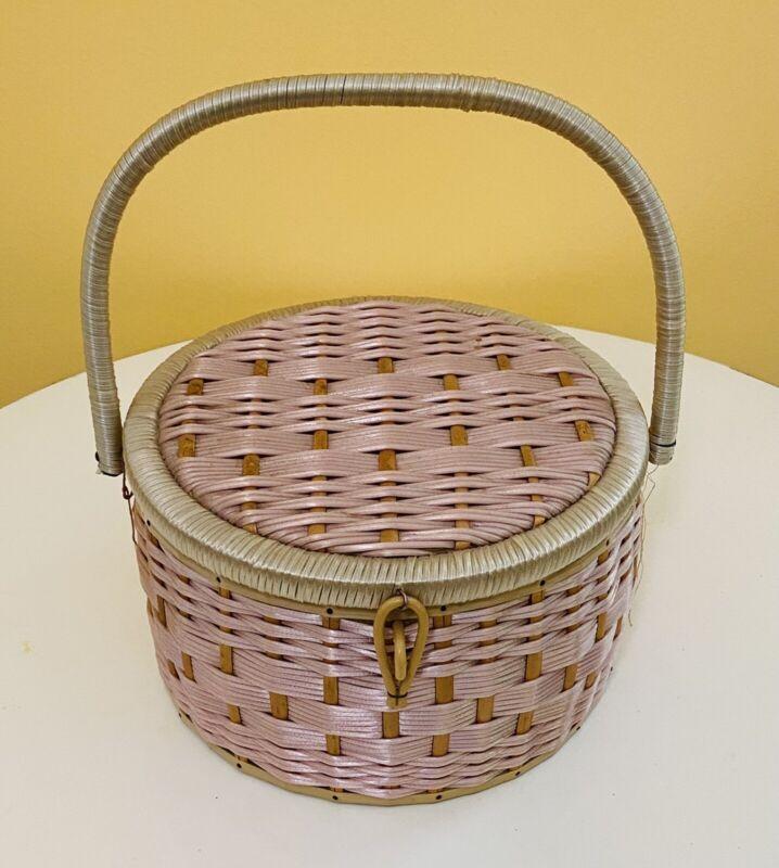 Vintage Rattan Wicker Sewing Basket Wooden Spools Satin Lined Pink White Japan