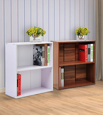 2 Tier Wood Storage Shelf Small Bookcase Home Office Furniture