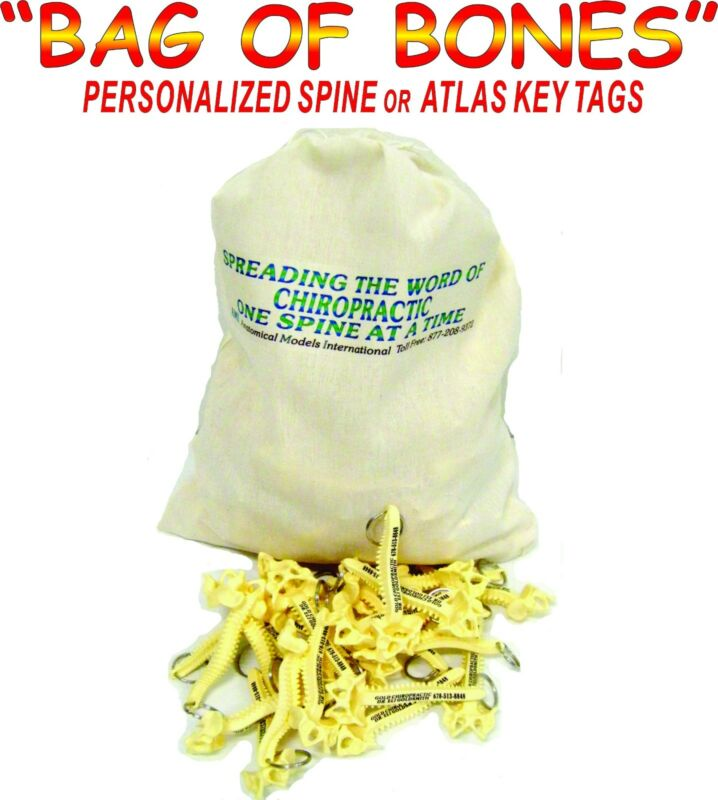 1000 PERSONALIZED SPINE KEY TAGS - KEY CHAIN  - BAG OF BONES - CHIROPRACTIC