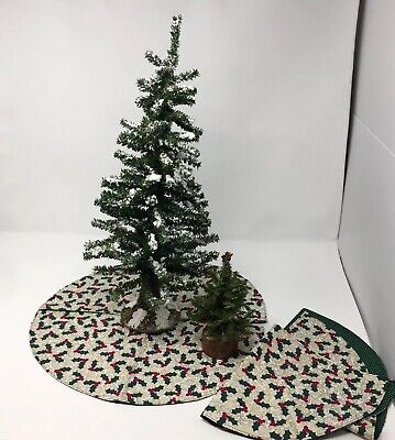 """19"""" Tree Christmas Village Valley Pine Tree Snow Frosted Hobby Train Set Up"""