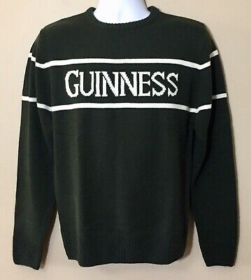 GUINNESS Sweater Men's Size S Forest Green Stripe Official Merch Dublin Ireland