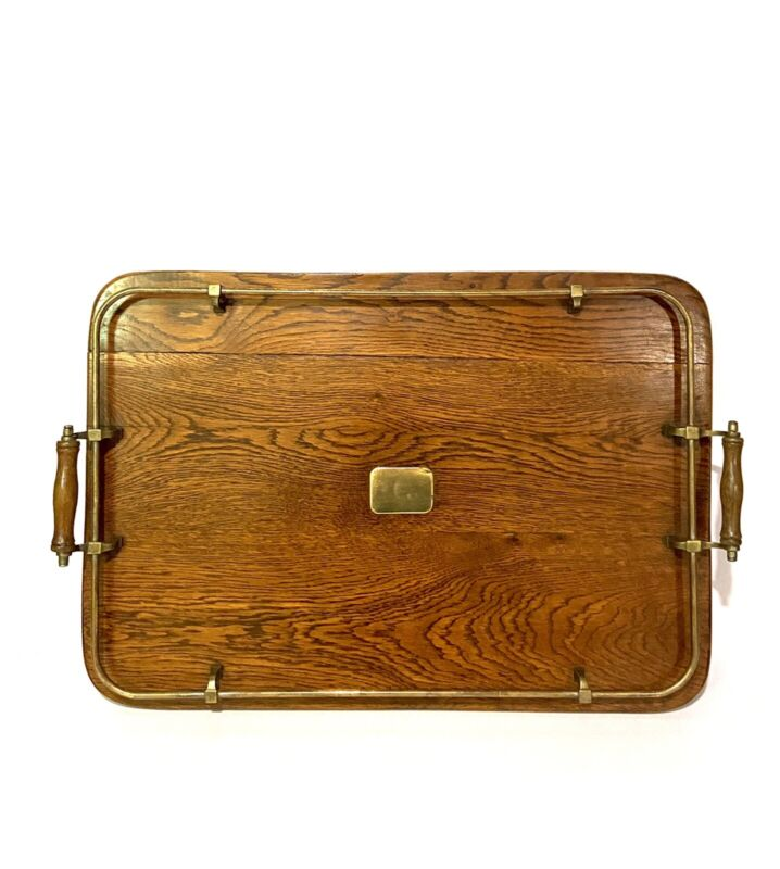 VICTORIAN TIGERS OAK & BRASS BUTLERS SERVING TRAY WITH GALLERY - COUNTRY HOUSE