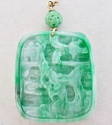 BIG Chinese Green & White JADEITE Jade Pendant w/ Dragon & Phoenix  (40g, 2.8