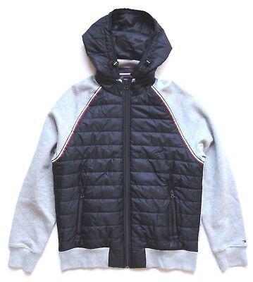 Tommy Hilfiger Men's Full Zip Quilt Fleece Hoodie Jacket, Blue/Grey (Tommy Hilfiger Quilts)
