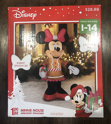 Disney Minnie Mouse Gingerbread Dress 5 Ft Tall Airblown Inflatable Christmas