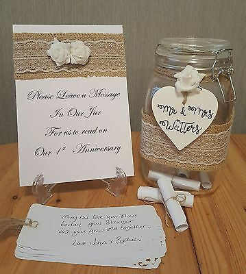 Personalised message in a jar, Wedding Guest book alternative, 100 scrolls