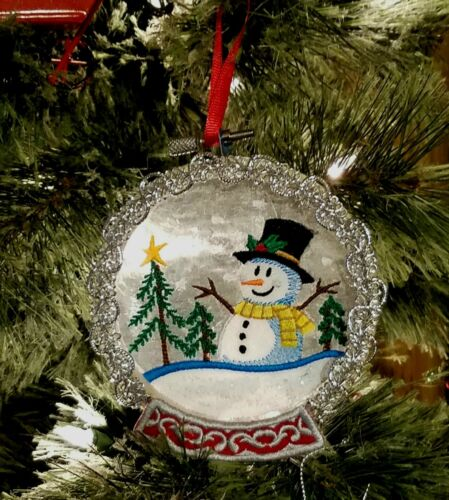 Christmas Embroidered Snow Globe Ornament