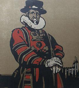 """William Nicholson 1898 Types de Londres London Le Gardien de la Tour Beefeater - France - LITHOGRAPHIE ORIGINALE EN COULEURS DAPRS LES BOIS GRAVÉS PAR WILLIAM NICHOLSON 1898 (Paris, Floury) EXTRAITE DE L'OUVRAGE """"LES TYPES DE LONDRES"""" 1898 (imprimé 600 exemplaires sur vélin fort et 40 sur Japon) 1 FEUILLE 34 x 28 CM. LITHO 25,5 x 2 - France"""
