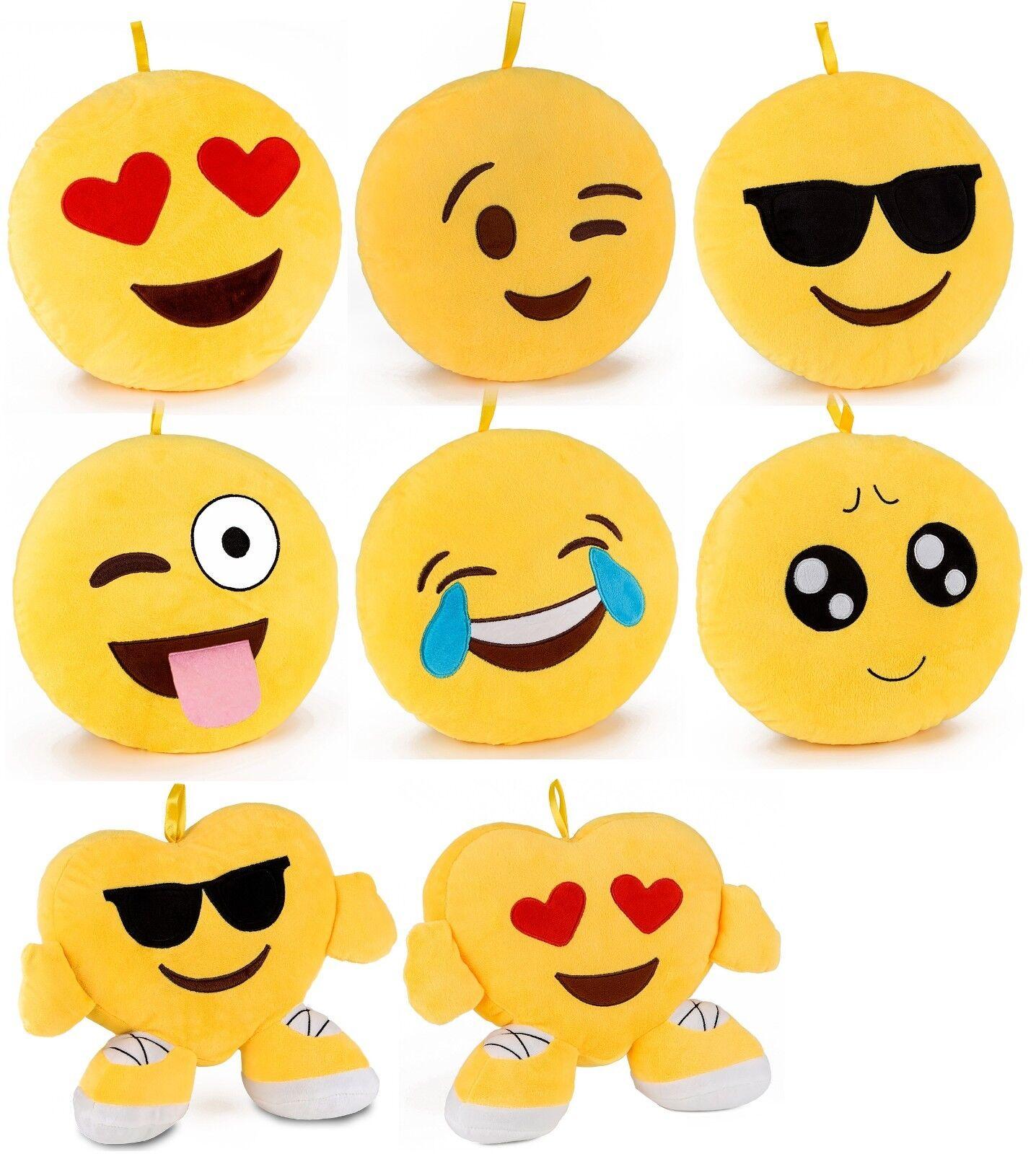 BRUBAKER Plüsch Kissen Smiley Emoji  30cm Dekokissen Emoticon Rund o. Herzkissen